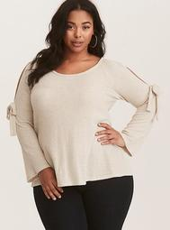 Tan Cold Shoulder Pullover Sweater
