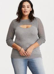 Mixed Stitch Peekaboo Neck Sweater