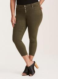 Ultra Skinny Cropped Jean - Olive Wash