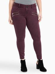 Multi Zip Jegging - Purple Check Print