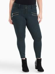 Multi Zip Jegging - Turquoise Check Print