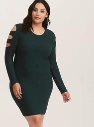 Emerald Green Cutout Sleeve & Back Sweater Dress