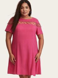 Hot Pink Challis Lattice Front Trapeze Dress