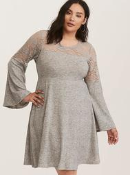 Grey Bell Sleeve Lace Inset Woven Skater Dress