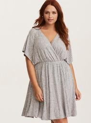 Grey Ribbed Knit Surplice Skater Dress