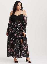 Runway Collection - Black Floral Lace Maxi Dress (Short Inseam Now Available)