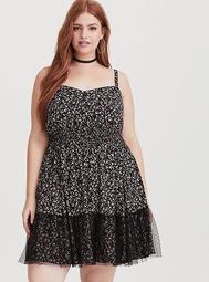 Black Floral Lace Overlay Challis Dress