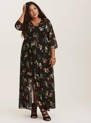 Black Floral Chiffon & Lace Maxi Shirt Dress (Short Inseam Now Available)