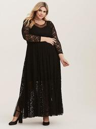 Black Lace & Mesh Maxi Dress (Short Inseam Now Available)