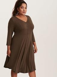 Olive Green Knit Button Front Shirt Dress
