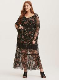 Multi-Color Floral Print Chiffon Crochet Inset Maxi Dress