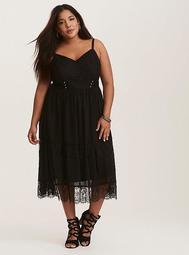 Black Lace & Chiffon Lace Up Cami Maxi Dress