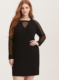 Black Mesh Inset Sweatshirt Dress