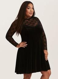 Black Lace & Velvet Layered Trapeze Dress