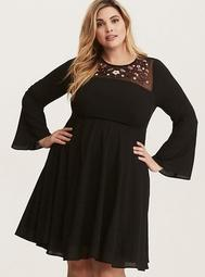 Black Embroidered Mesh Inset Georgette Dress