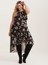 Purple & Black Floral Print Chiffon Hi-Lo Dress