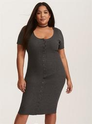 Charcoal Grey Ribbed Knit Button Front Dress