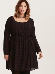Black & Purple Plaid Print Georgette Strappy V-Back Skater Dress