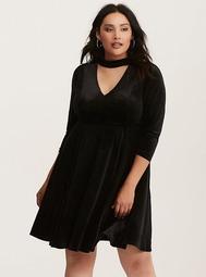 Black Velvet Cutout Neck Skater Dress