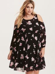 Black & Pink Floral Print Chiffon Cold Shoulder Dress