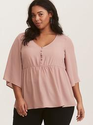 Pink Button Front Babydoll Georgette Top