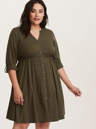 Olive Green Challis Button Front Dress