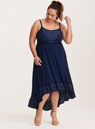 Embroidered Gauze Hi-Lo Maxi Dress