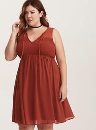 Rust Chiffon Smocked Tank Dress