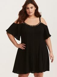 Black Trapeze Gauze Dress