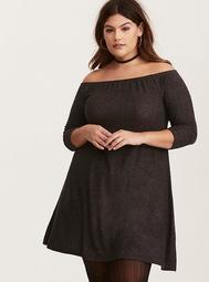 Charcoal Grey Hacci Knit Off Shoulder Trapeze Dress