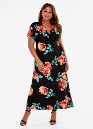 Rose Print Wrap Maxi Dress