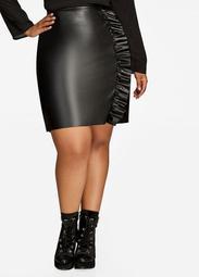 Faux Leather Ruffle Mini Skirt