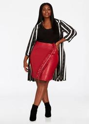 Zip Ruffle Faux Leather Skirt