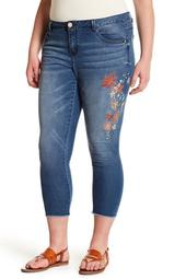 Floral Frayed Ankle Jeans (Plus Size)