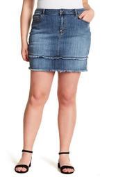 Frayed Denim Skirt (Plus Size)