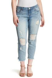 Frayed Distressed Boyfriend Fit Jeans (Plus Size)