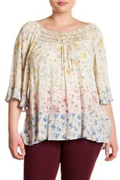 Colorblock Floral Blouse (Plus Size)