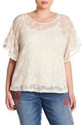 Floral Crochet Lace Blouse (Plus Size)