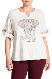 Embellished Elephant Print Tee  (Plus Size)