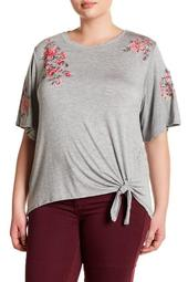 Floral Embroidery Front Tie Shirt (Plus Size)