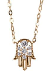 18K Gold Plated Brass CZ Hamsa Pendant Necklace