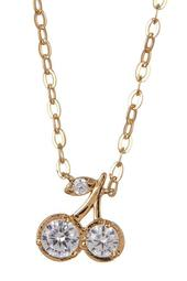 18K Gold Plated Brass CZ Cherry Pendant Necklace