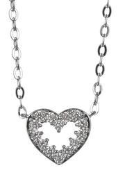 Rhodium Plated Brass CZ Heart Pendant Necklace