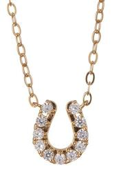 18K Gold Plated CZ Horseshoe Pendant Necklace