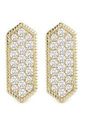 14K Yellow Gold Diamond Accented Cynthia Rose Bar Earrings - 0.21 ctw