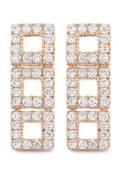 14K Rose Gold Diamond Accented Allison Joy 3 Square Bar Earrings - 0.26 ctw