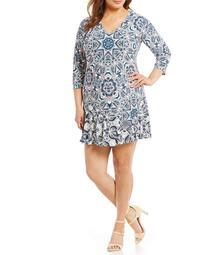 Eliza J Plus Printed Flounce-Hem Dress