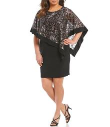 R & M Richards Plus Metallic Lace Poncho Dress