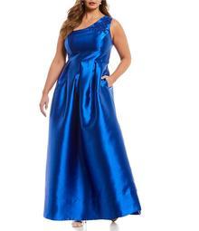 Sangria Plus One-Shoulder Applique Ball Gown