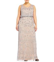 Adrianna Papell Plus Sleeveless Beaded Blouson Gown